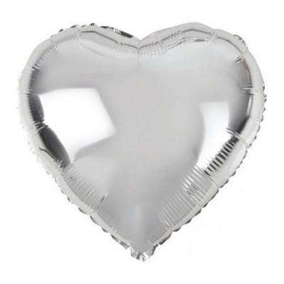 Gümüş Renk Uçan Kalp Folyo Balon - 50 CM